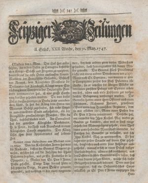 Leipziger Zeitungen vom 30.05.1747