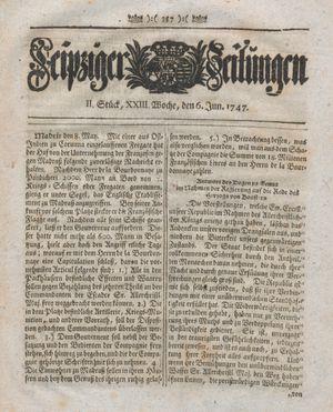 Leipziger Zeitungen vom 06.06.1747