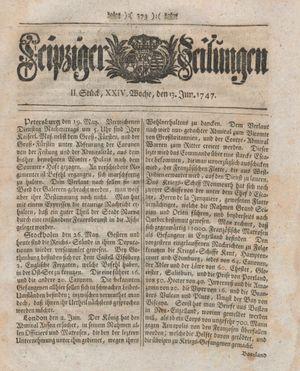 Leipziger Zeitungen vom 13.06.1747