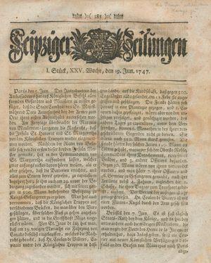 Leipziger Zeitungen vom 19.06.1747