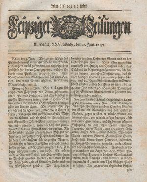 Leipziger Zeitungen vom 21.06.1747