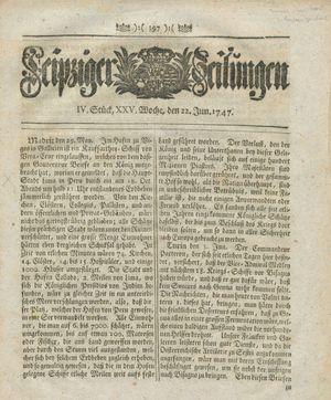 Leipziger Zeitungen vom 22.06.1747