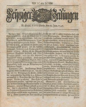 Leipziger Zeitungen vom 28.06.1747