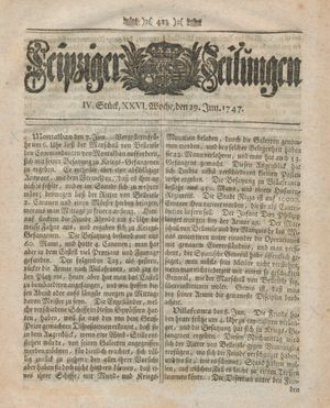 Leipziger Zeitungen vom 29.06.1747