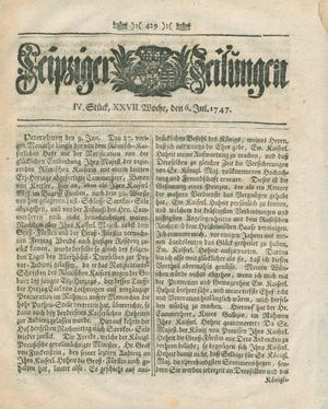Leipziger Zeitungen vom 06.07.1747