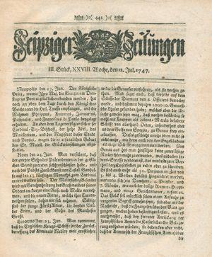 Leipziger Zeitungen vom 12.07.1747