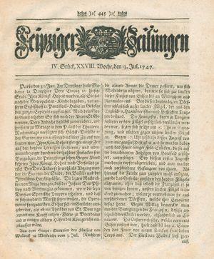 Leipziger Zeitungen vom 13.07.1747