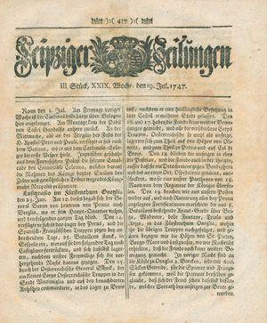 Leipziger Zeitungen vom 19.07.1747