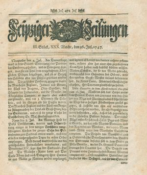 Leipziger Zeitungen vom 26.07.1747