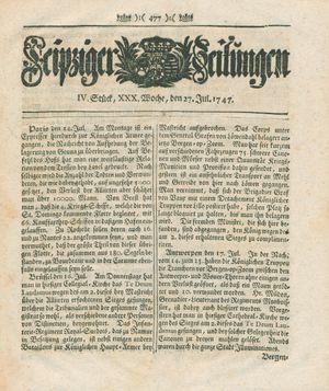 Leipziger Zeitungen vom 27.07.1747