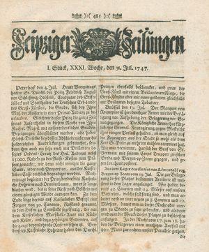 Leipziger Zeitungen vom 31.07.1747