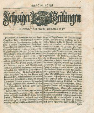 Leipziger Zeitungen vom 01.08.1747
