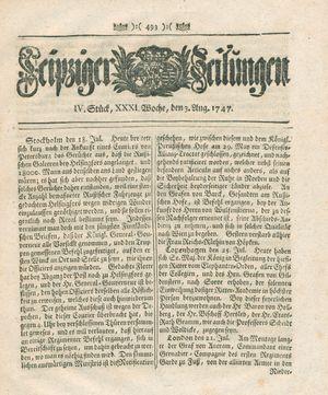 Leipziger Zeitungen vom 03.08.1747