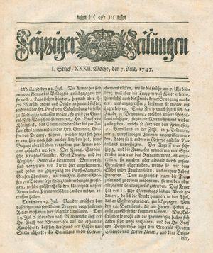 Leipziger Zeitungen vom 07.08.1747
