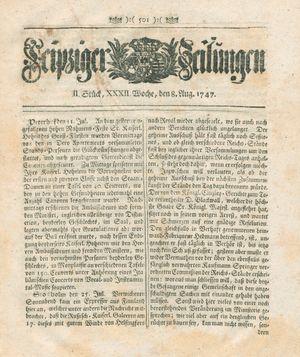 Leipziger Zeitungen vom 08.08.1747