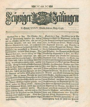 Leipziger Zeitungen vom 22.08.1747