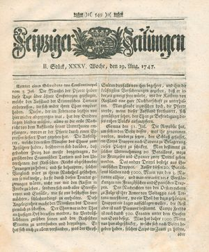 Leipziger Zeitungen vom 29.08.1747