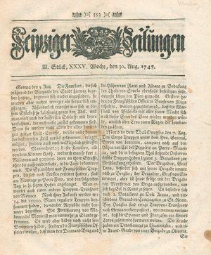 Leipziger Zeitungen vom 30.08.1747