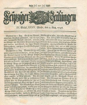 Leipziger Zeitungen vom 31.08.1747