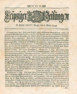 Leipziger Zeitungen vom 06.09.1747