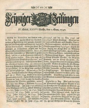 Leipziger Zeitungen on Sep 7, 1747