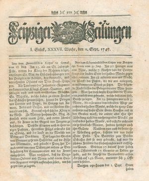 Leipziger Zeitungen vom 11.09.1747