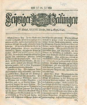 Leipziger Zeitungen vom 14.09.1747