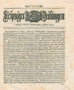Leipziger Zeitungen vom 25.09.1747