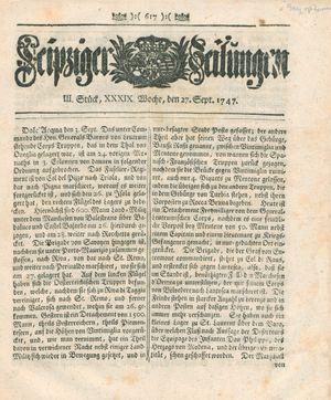 Leipziger Zeitungen vom 27.09.1747