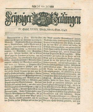 Leipziger Zeitungen vom 28.09.1747