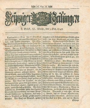 Leipziger Zeitungen vom 03.10.1747