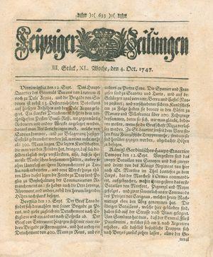 Leipziger Zeitungen vom 04.10.1747