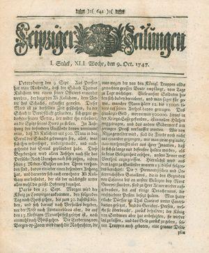 Leipziger Zeitungen vom 09.10.1747