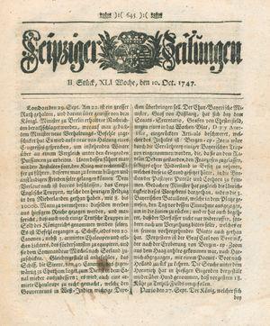 Leipziger Zeitungen vom 10.10.1747