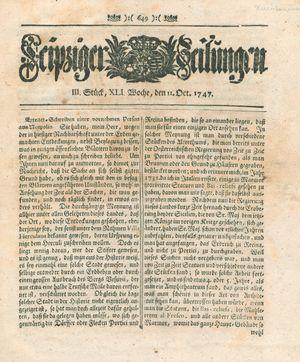 Leipziger Zeitungen vom 11.10.1747