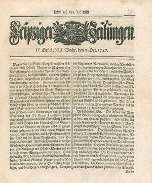 Leipziger Zeitungen vom 12.10.1747