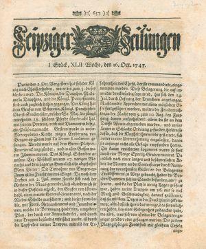 Leipziger Zeitungen vom 16.10.1747