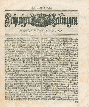 Leipziger Zeitungen vom 17.10.1747