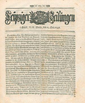 Leipziger Zeitungen vom 23.10.1747