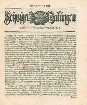 Leipziger Zeitungen vom 24.10.1747