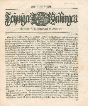 Leipziger Zeitungen vom 25.10.1747