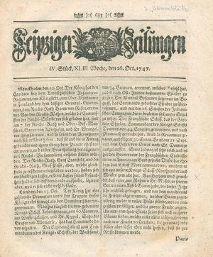 Leipziger Zeitungen vom 26.10.1747