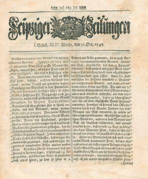 Leipziger Zeitungen vom 30.10.1747