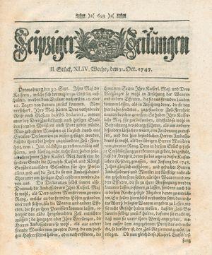 Leipziger Zeitungen vom 31.10.1747