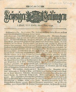 Leipziger Zeitungen vom 06.11.1747
