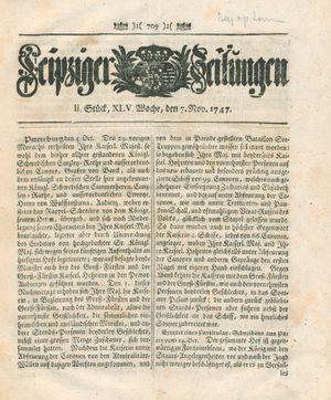 Leipziger Zeitungen vom 07.11.1747