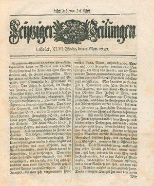 Leipziger Zeitungen vom 13.11.1747