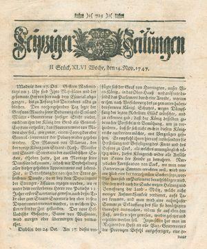 Leipziger Zeitungen vom 14.11.1747