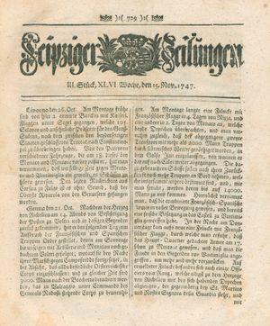 Leipziger Zeitungen vom 15.11.1747