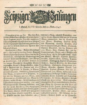 Leipziger Zeitungen vom 20.11.1747
